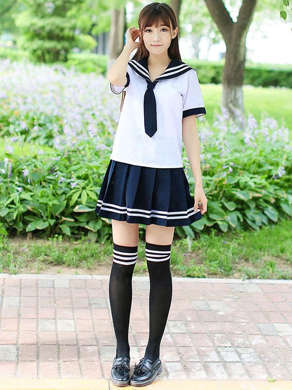 Two-Tone Pleated Tie School Cloth Uniform Costume  Halloween