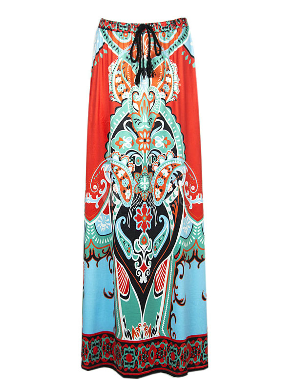 Multicolor Print Artwork Acetate Chic Skirt for Women