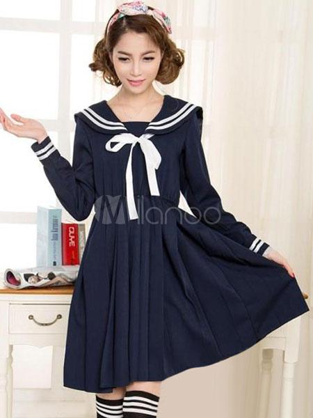 Deep Blue Bow School Cloth Uniform Costume  Halloween
