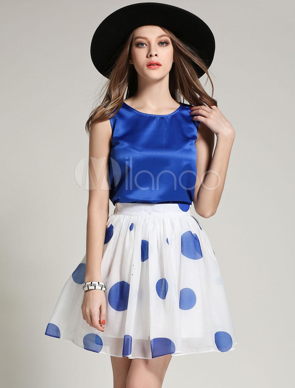 Blue Polka Dot Chiffon Suitfor Women