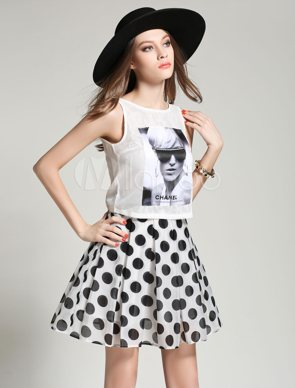 Buy White Polka Dots Print Organza Top and Skirt for Women for $26.34 in Milanoo store