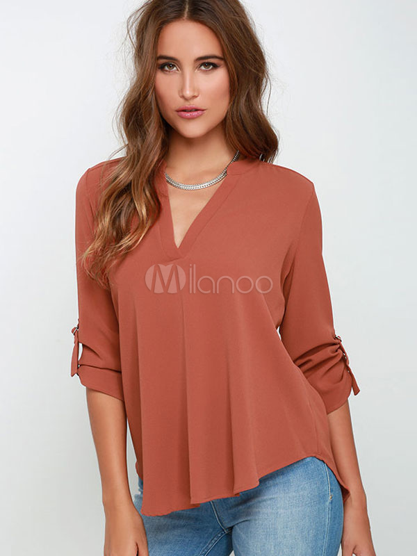 Buy Brown Deep-V Acetate Draping T-shirt for Women for $19.19 in Milanoo store