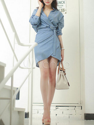 Light Blue Lace Up Wrap Front Cotton Dress for Women