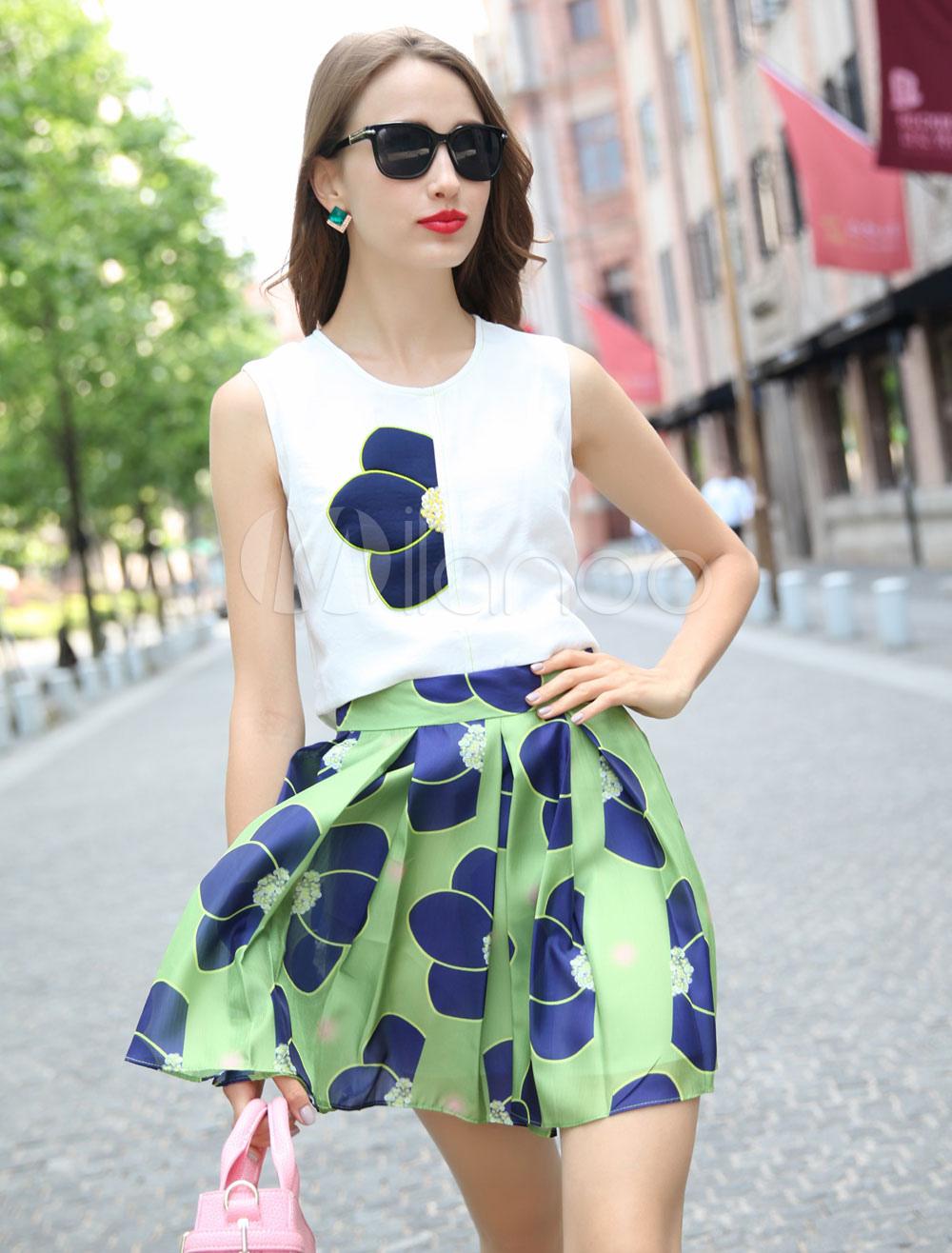 White Print Chiffon Top and Skirt for Women