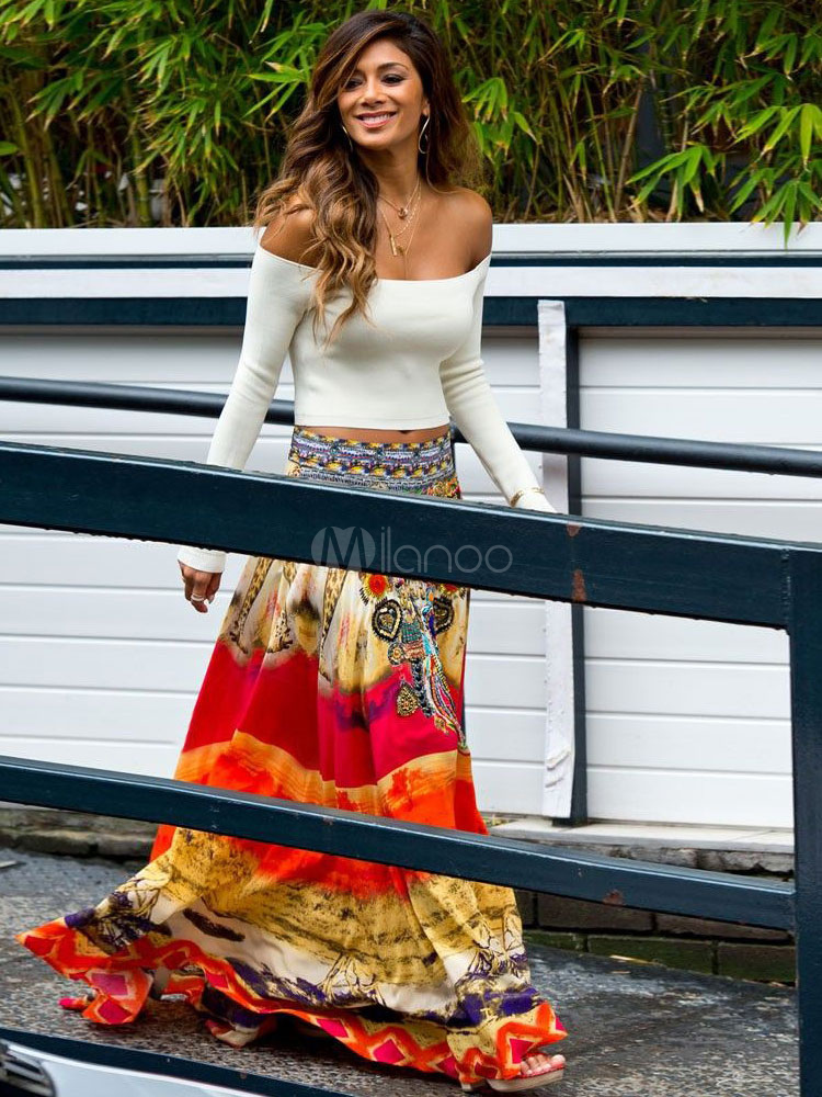 Women Long Skirt 2018 Multicolor Printed Summer Skirt