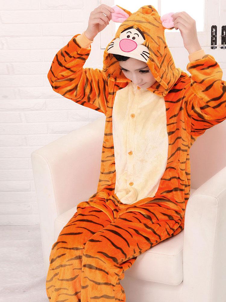 Kigurumi Pajamas Tiger 2018 Onesie Orange Mascot Synthetic Costume Halloween