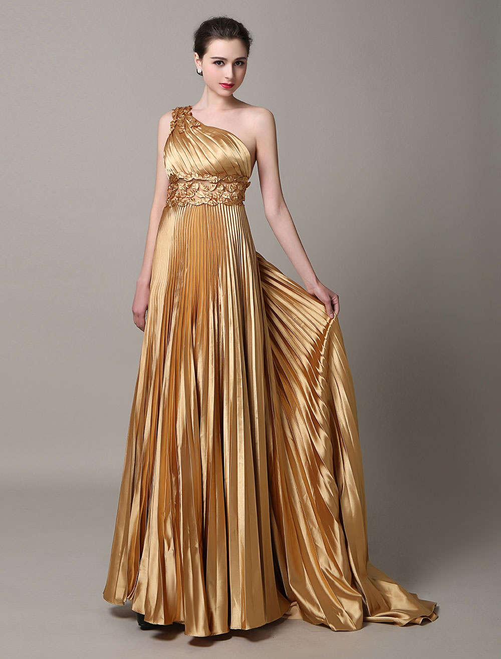 Gold evening dresses One Shoulder formal gowns pleated Sash Satin Prom Dress with train