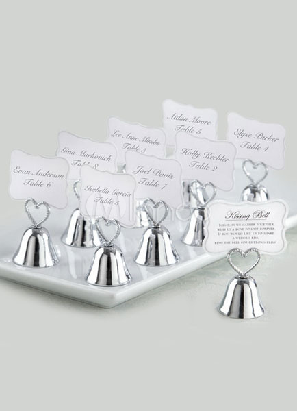 Silver Heart Bell Metal Wedding Place Card Clip