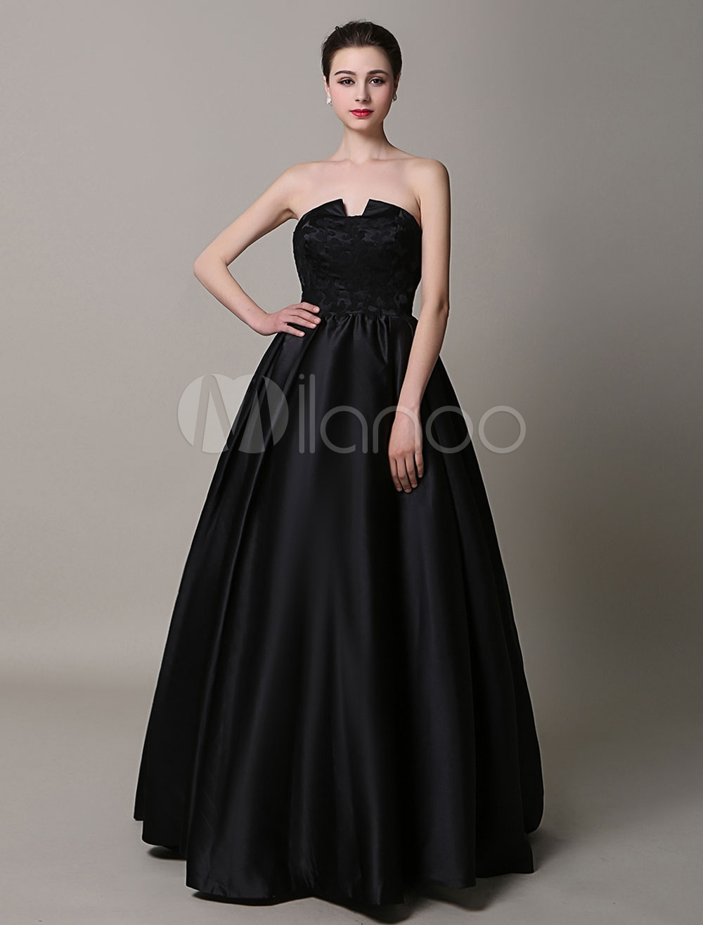 Black Strapless Backless A-Line Satin Prom Dress