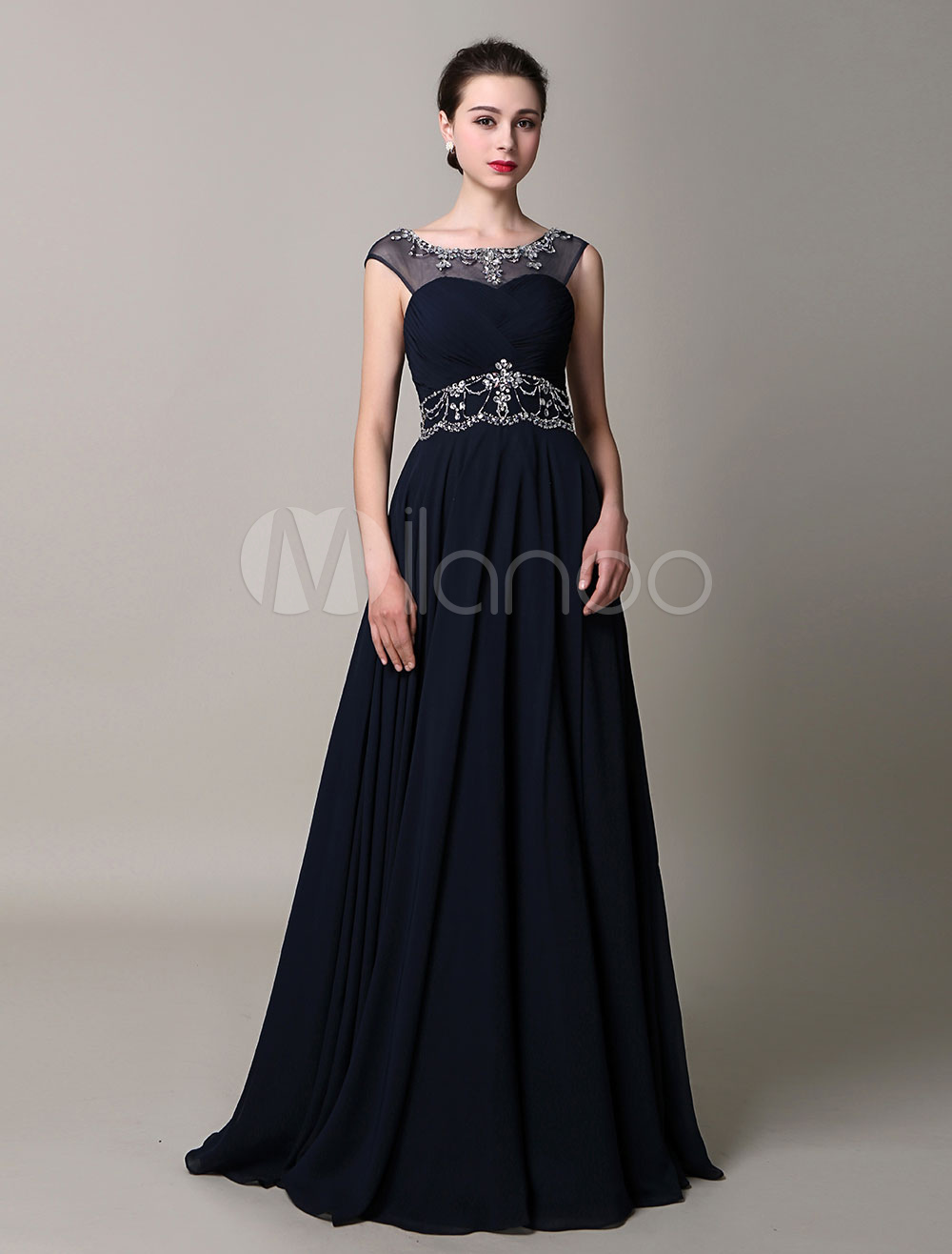 Black Backless Beaded Chiffon Satin A-Line Prom Dress
