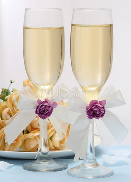 Glass Stem Purple Flower Chic Wedding Toasting Glass