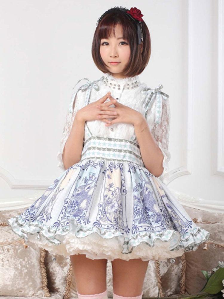 Multicolor Print Hime Polyester Lolita Skirt for Women