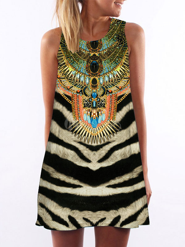 Multicolor Stripes Animal Print Summer Dress for Women