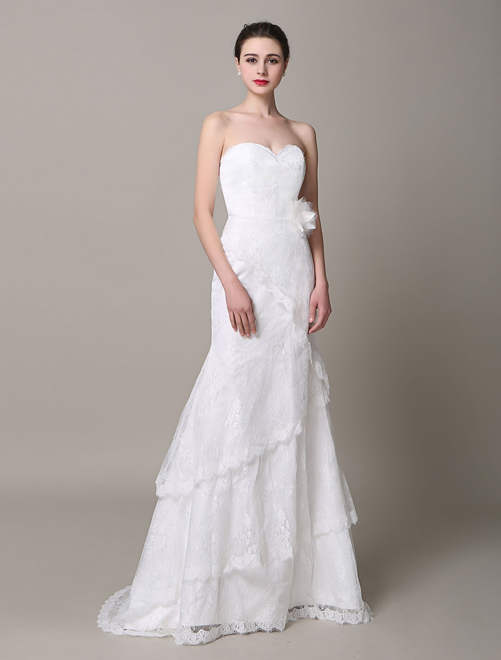 Ivory Wedding Dress Strapless Tiered Flowers Lace Wedding Gown