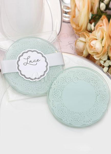 Wedding Favors Coaster.Transparent Round Glass Coaster Wedding Favors
