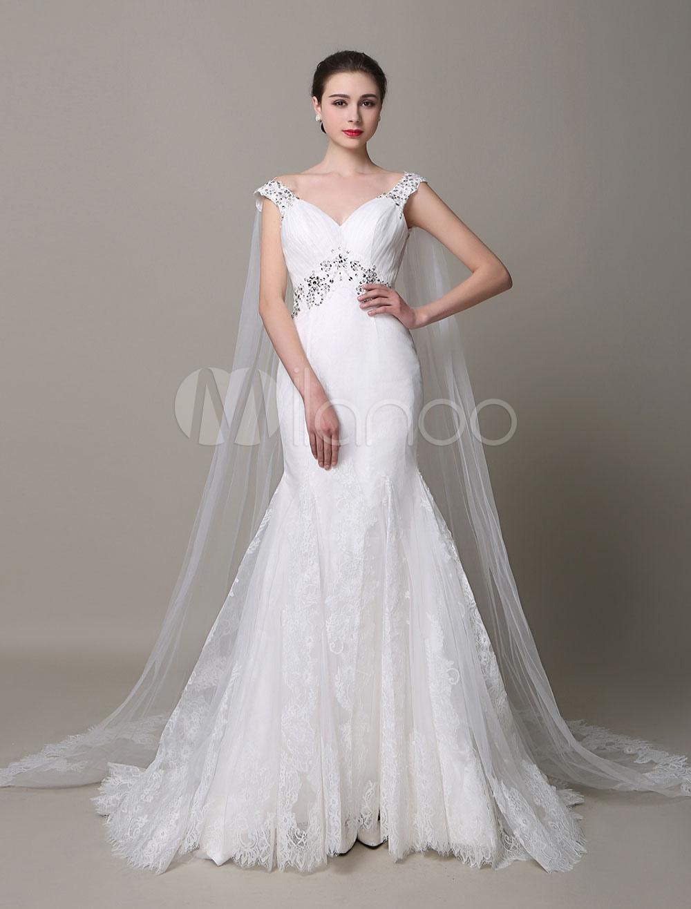 Ivory Wedding Dress Mermaid With Straps Backless Rhinestone Detachable Shawl