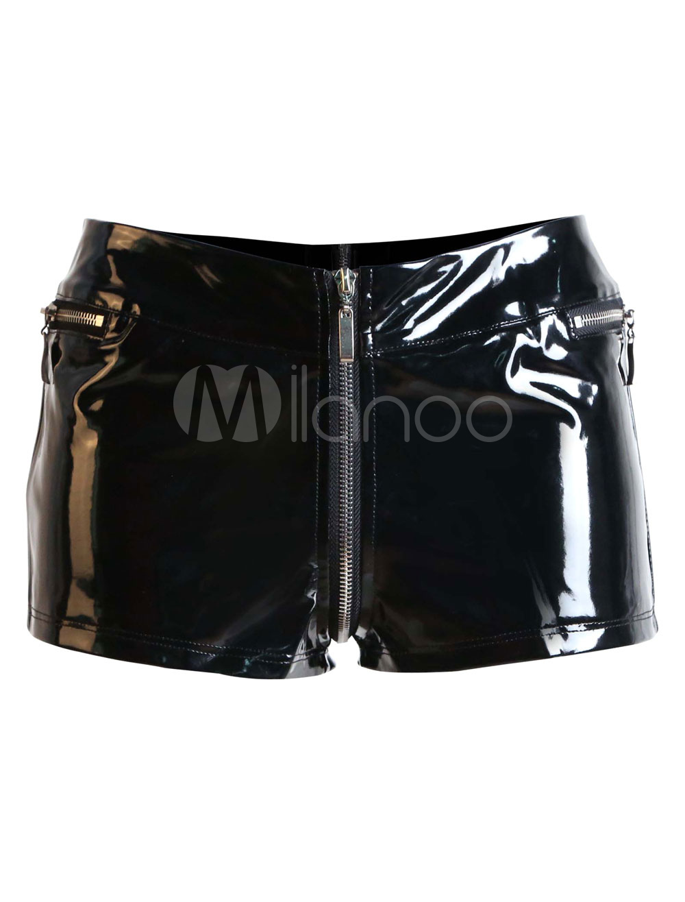 Black Skinny PVC Clubwear Shorts for Women Cheap clothes, free shipping worldwide