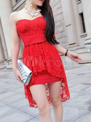 Milanoo / Red Strapless Lace Backless Mini Dress for Women
