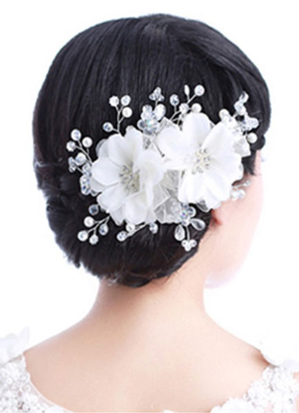 White Net Flower Pearl Wedding Hair Jewelry Accessories
