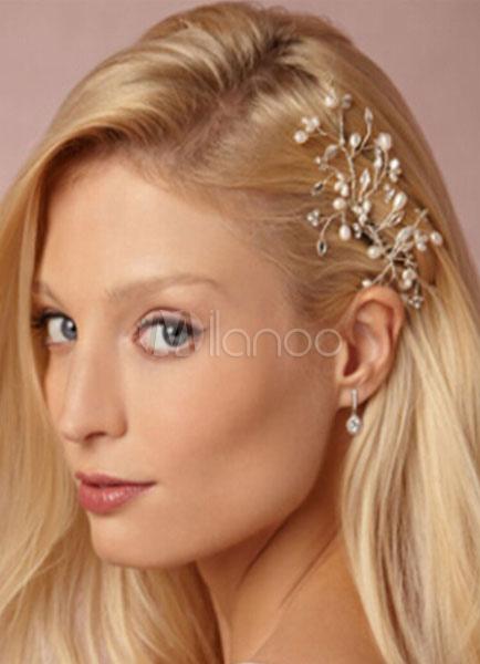 d8e4b28e25fa ... Accessori per capelli sposa perle alla moda del metallo avorio Gioielli  -No.2