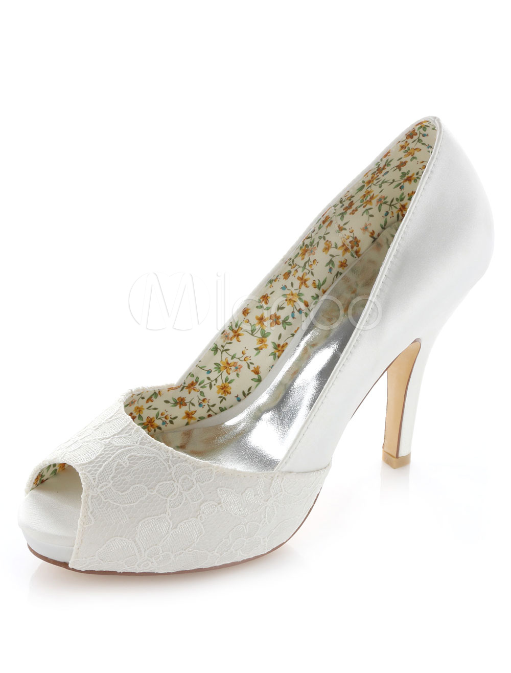 Buy White Platform Peep Toe Lace Satin Evening and Bridal Pumps for $58.49 in Milanoo store