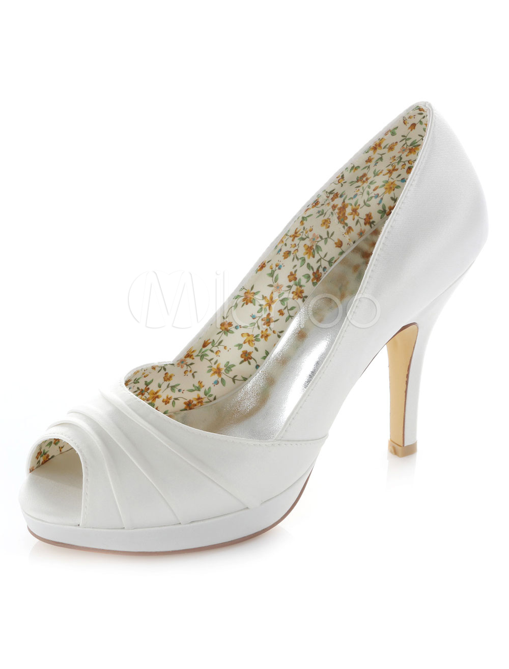 Buy White Ruched Peep Toe Satin Bridal Pumps for $55.09 in Milanoo store
