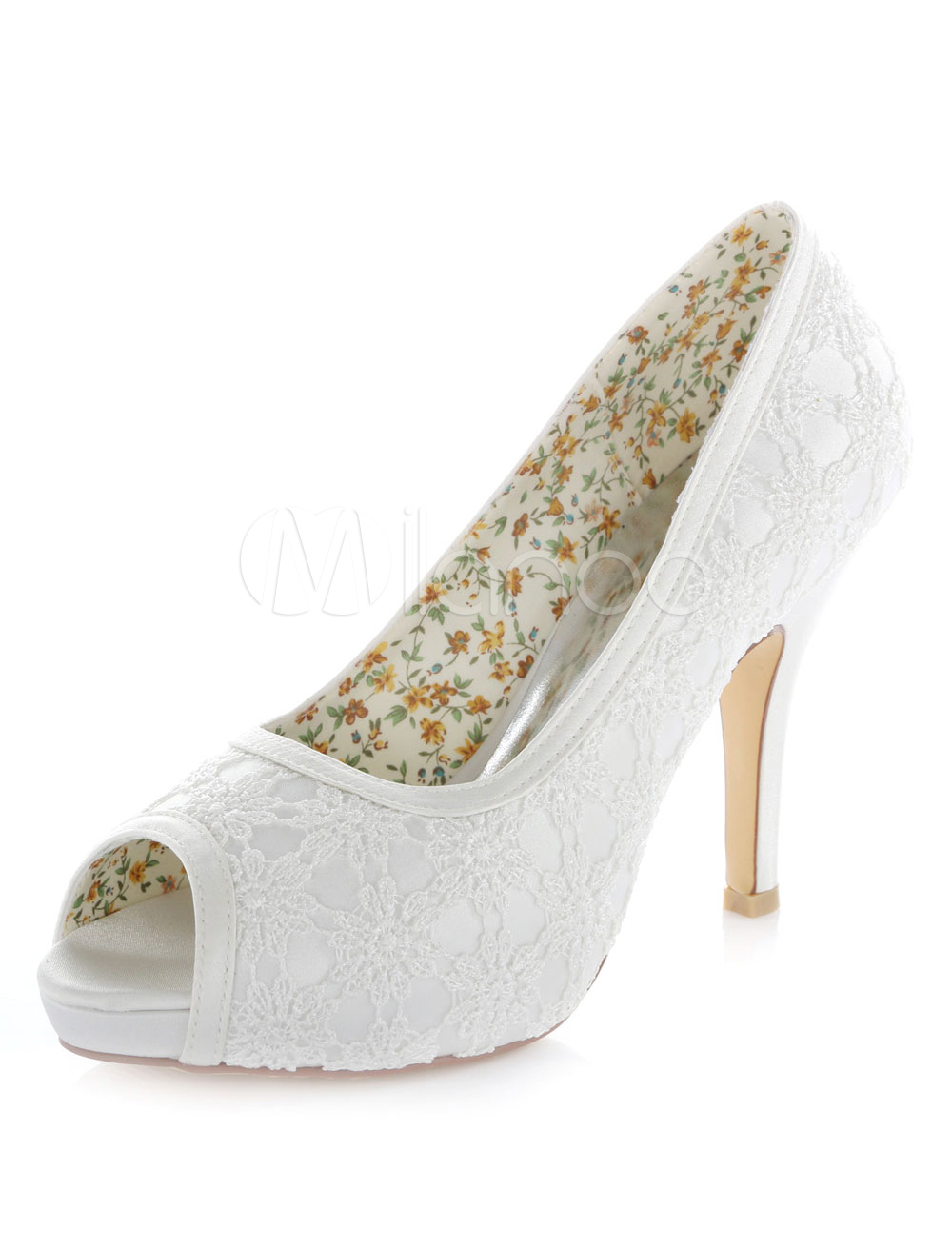 Buy White Platform Lace Satin Peep Toe Evening and Bridal Pumps for $61.74 in Milanoo store