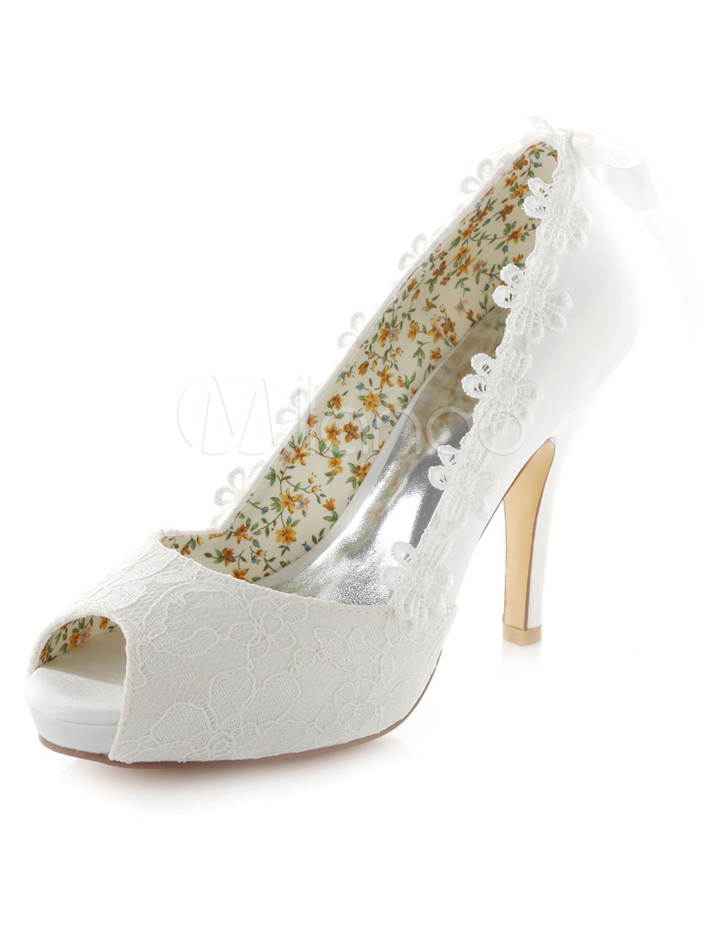 Buy White Lace Flowers Peep Toe Platform Satin Bridal Pumps for $62.99 in Milanoo store