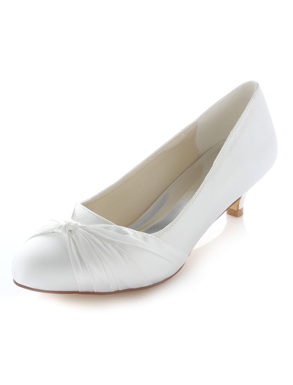 White Bows Satin Trendy Bridal Pumps