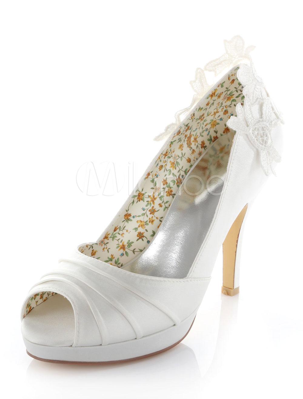 White Flower Ruched Peep Toe Satin Bridal Pumps