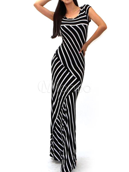 Black Stripes Knitted Maxi Dress for Women