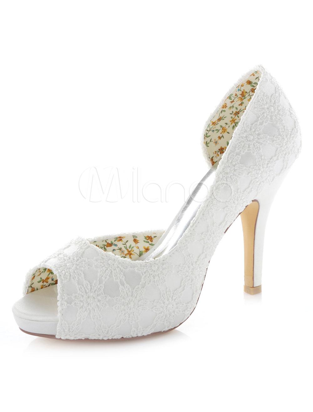 Ivory Lace Platform Peep Toe Satin Bridal Pumps