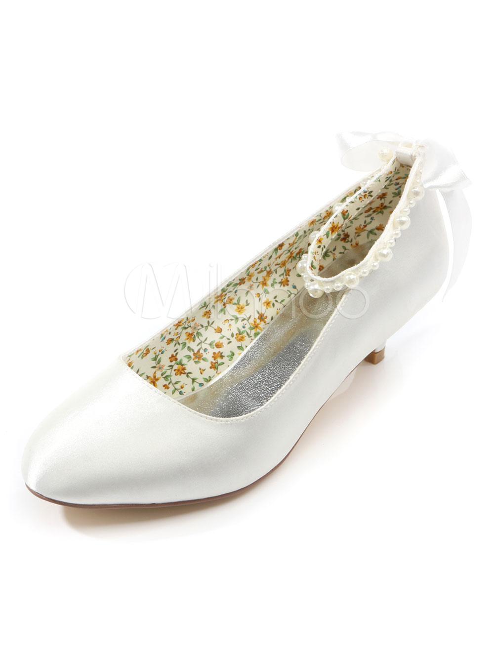 White Pearls Satin Bridal Pumps