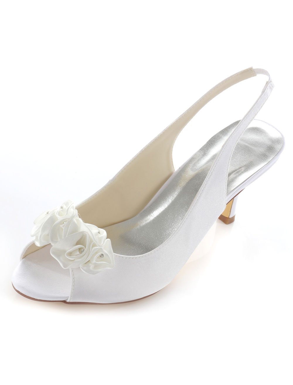 Ivory Rhinestone Flower Peep Toe Satin Evening and Bridal Sandals