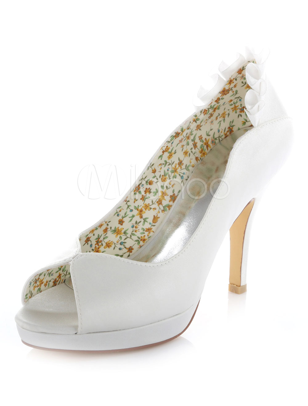 Buy White Platform Peep Toe Satin Evening and Bridal Pumps for $61.74 in Milanoo store