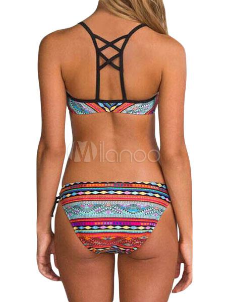 Stampa multicolor croce cinghie poliestere bikini costume - Le donne in bagno ...