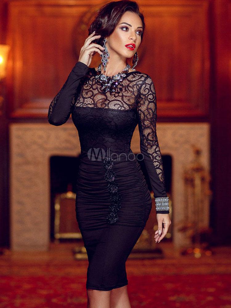 Black Lace V-Back Polyester Bodycon Dress for Women