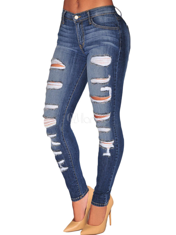 Ripped Jeans Deep Blue Denim Jeans For Women Cheap clothes, free shipping worldwide