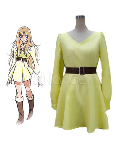 Buy Yellow Sash Yuna Saint Seiya Polyester Dress Cosplay Costume Halloween for $45.99 in Milanoo store