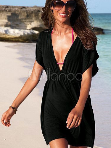 Swim Cover Up Black V Neck Short Sleeve Bathing Suit For Women March 2018. New collection, free shipping.