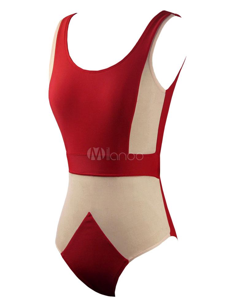 Rosso sexy cut out lycra spandex costume da bagno per le donne - Uomini in costume da bagno ...