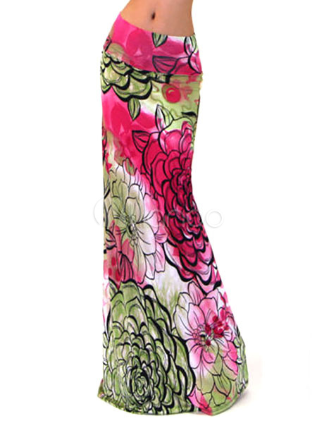 Multicolor Chic Floral Print Roman Knit Maxi Skirt for Women