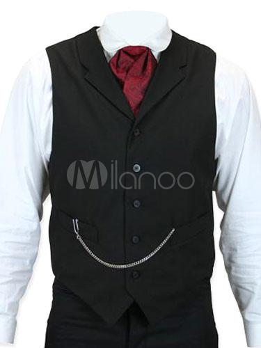 Buy Steampunk Gilet Black Chains Waistcoat Retro Costume For Men Halloween for $61.99 in Milanoo store