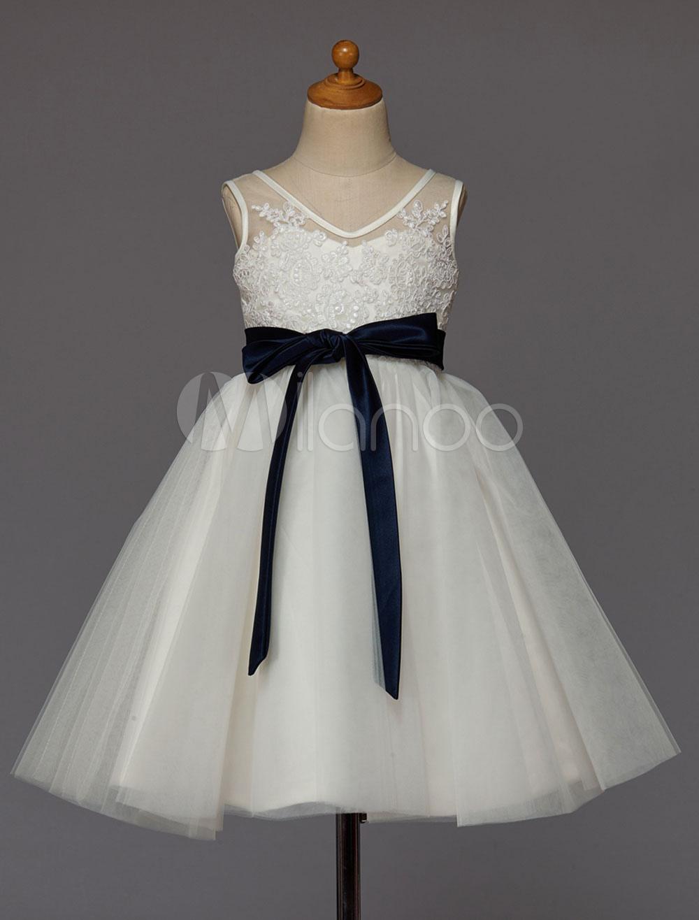 Ivory Flower Girl Dress Lace Tulle Tutu Dress Ribbon Bow Sash Short Kids Party Dresses