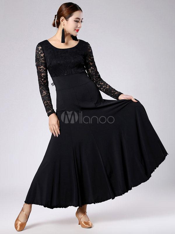 77b32b396e4 Black Ballroom Dance Dress With Lace Milk Silk for Women - Milanoo.com