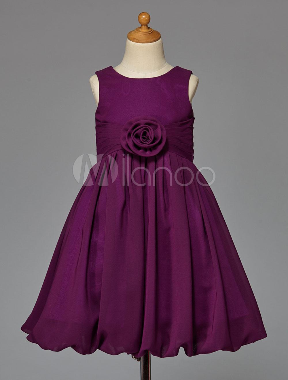 Vestido para las niñas de flores de chifón Magenta con escote ...