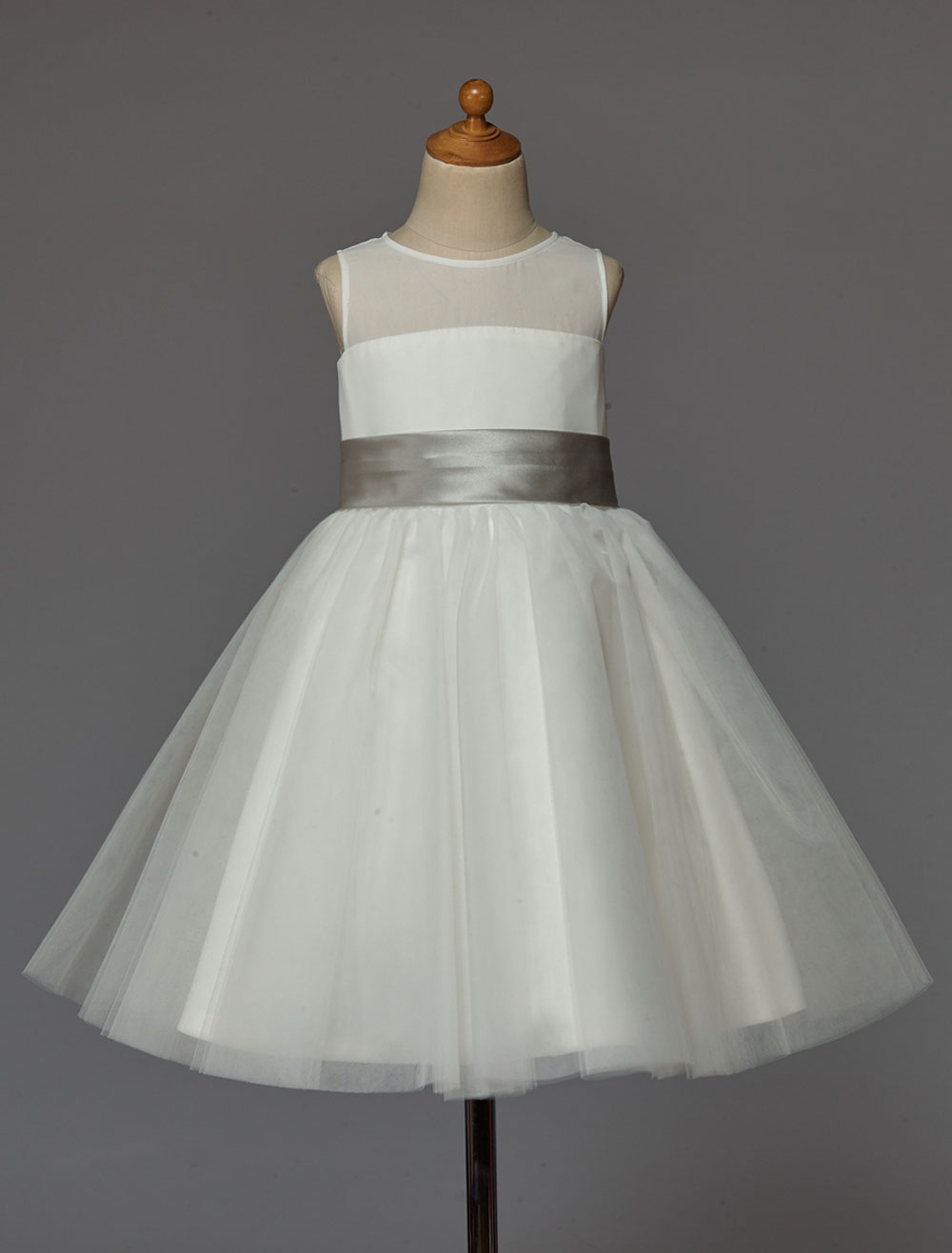 Buy Ivory Flower Girl Dress With Bow Sash Chiffon Satin for $53.19 in Milanoo store