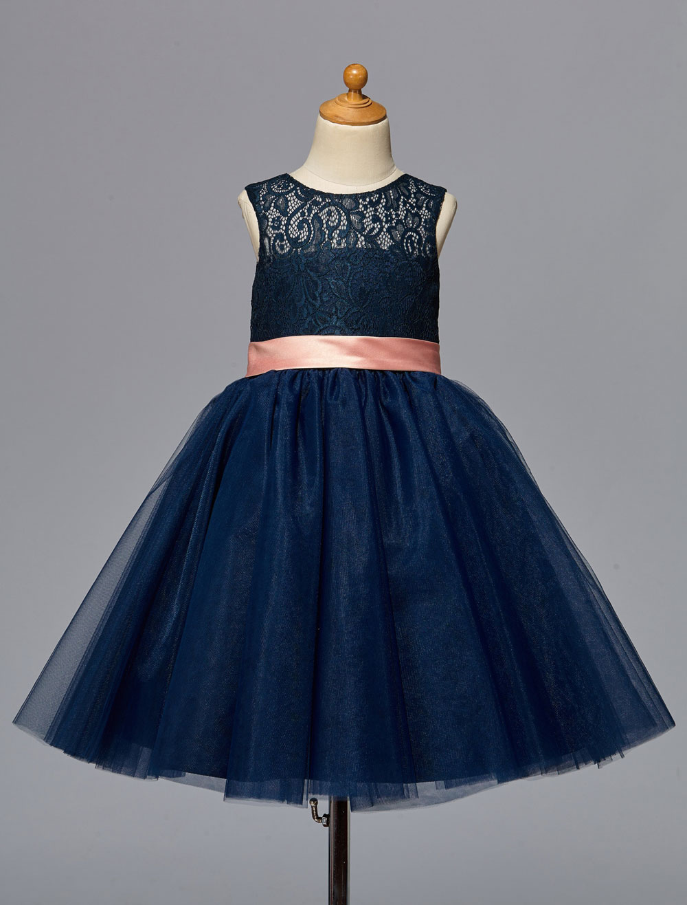 Dark Navy Flower Girl Dress With Sash Bow Lace Cut-Out