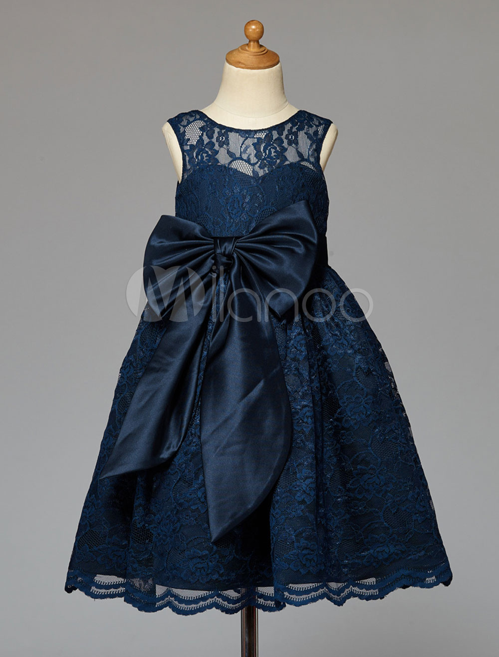 Dark Navy Flower Girl Dress With Bow Sash Lace