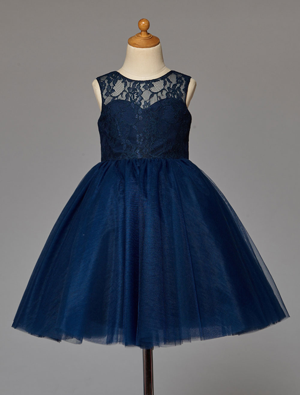Dark Navy Flower Girl Dress With Tulle Lace
